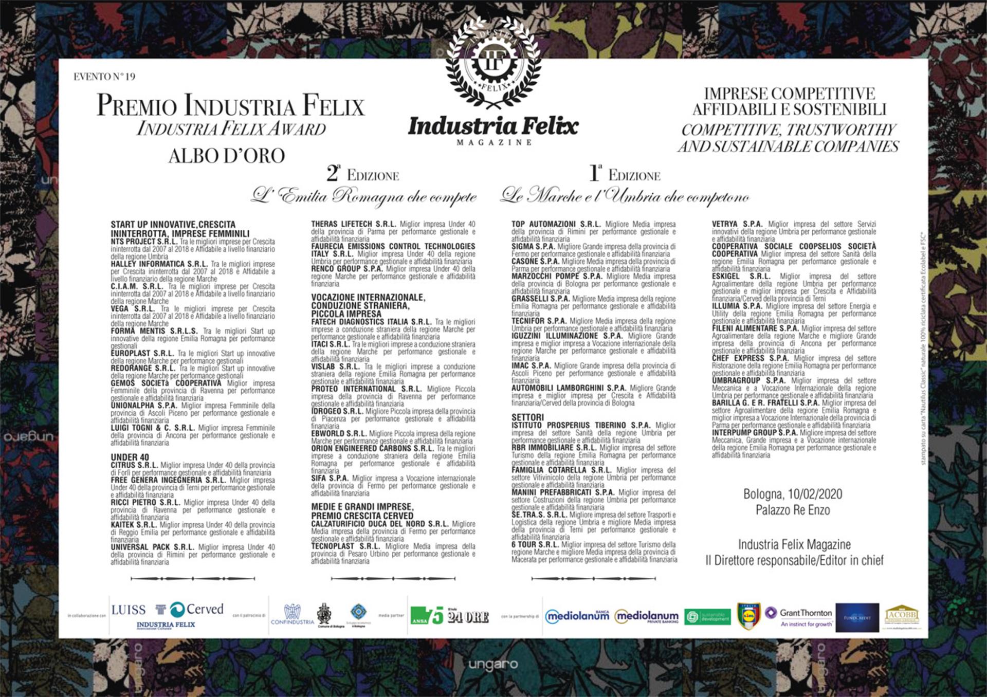 Albo d'oro Emilia Romagna, Marche e Umbria (Evento Bologna)