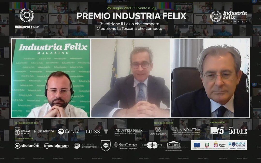 Da destra il presidente di Unindustria Tortoriello, il sottosegretario Manzella e il direttore Montemurro