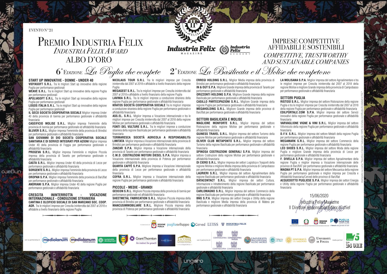 Albo d'oro Puglia, Basilicata e Molise (Evento Online del 15/06/2020)