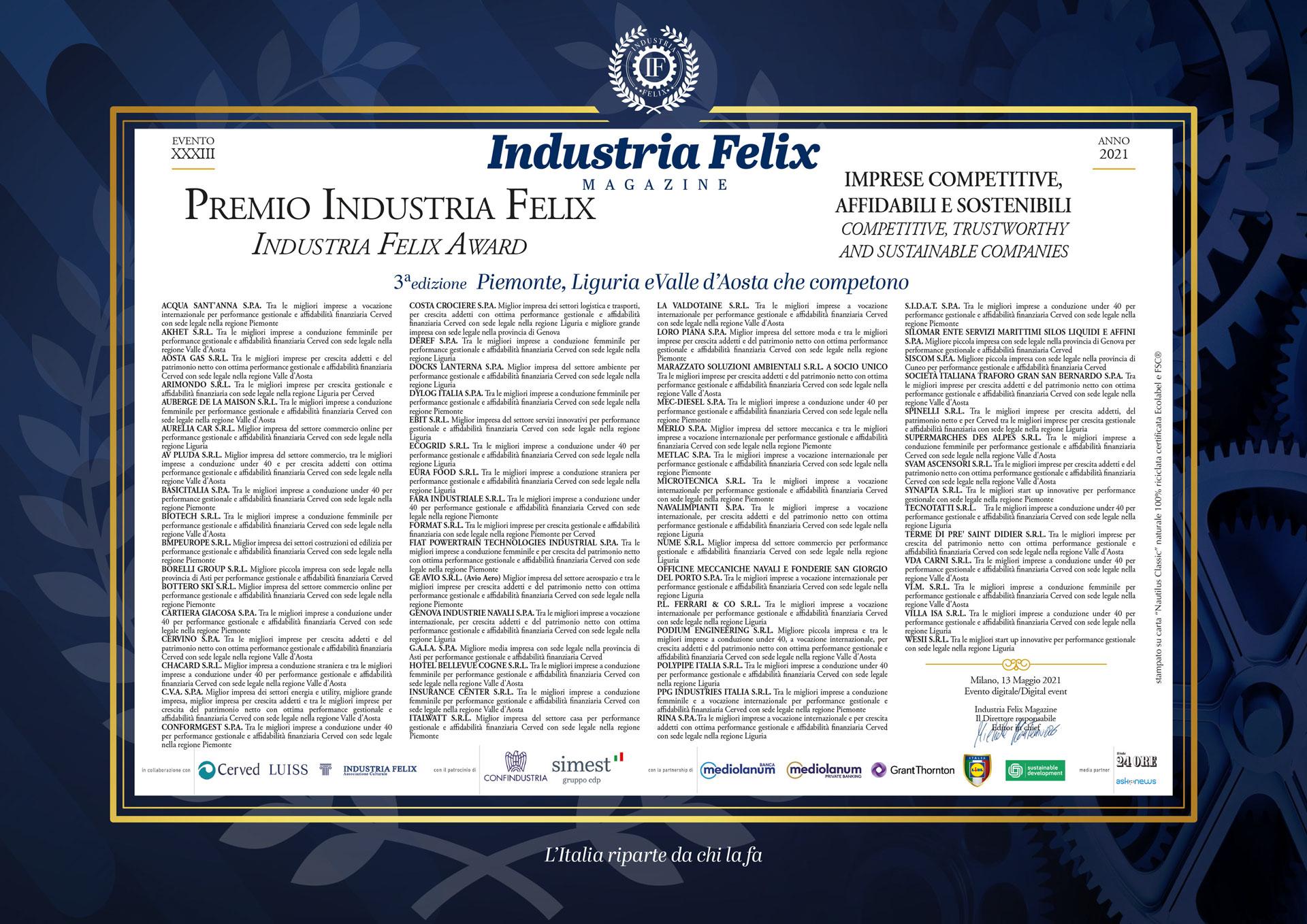 Albo d'Oro 2021: Piemonte, Liguria, Valle d'Aosta (13/05/2021)